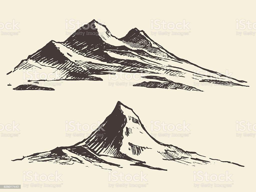 Mountains sketch contours engraving drawn vector vector art illustration