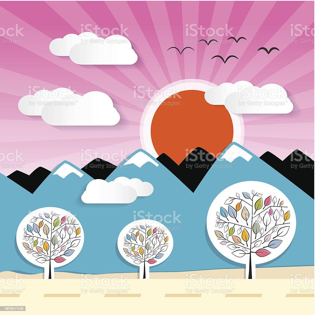 Mountains Sunset Vector Illustration royalty-free stock vector art