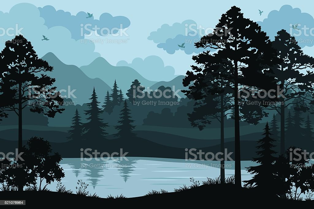 Mountains, Trees and River vector art illustration