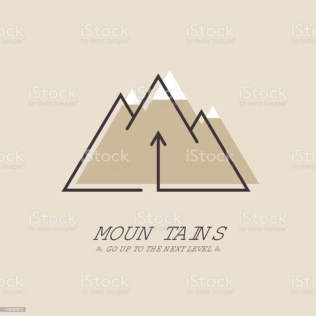 Mountains, Vector logo in line style. Mono line logotype vector art illustration