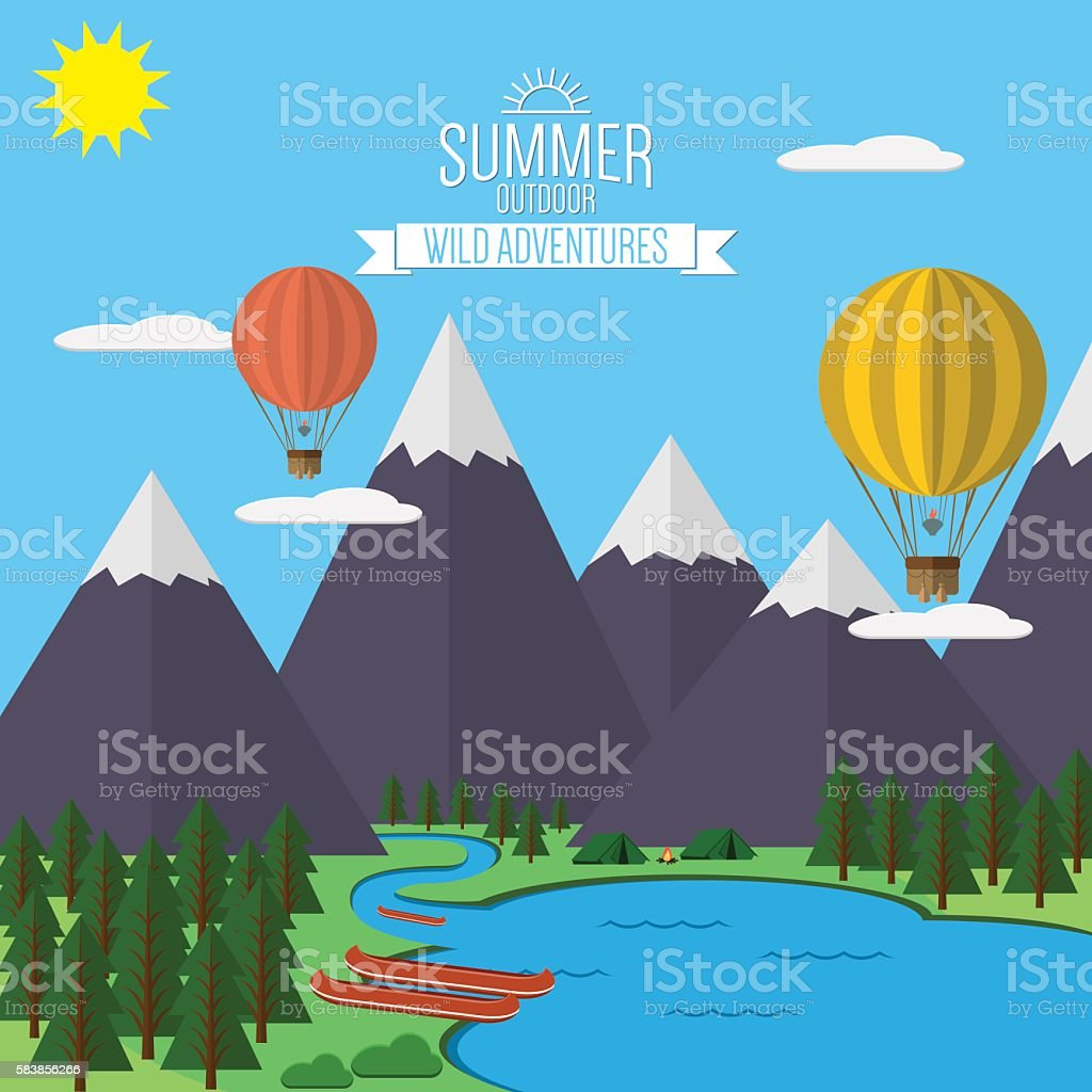 Mountains with forest and lake landscape flat vector illustration vector art illustration
