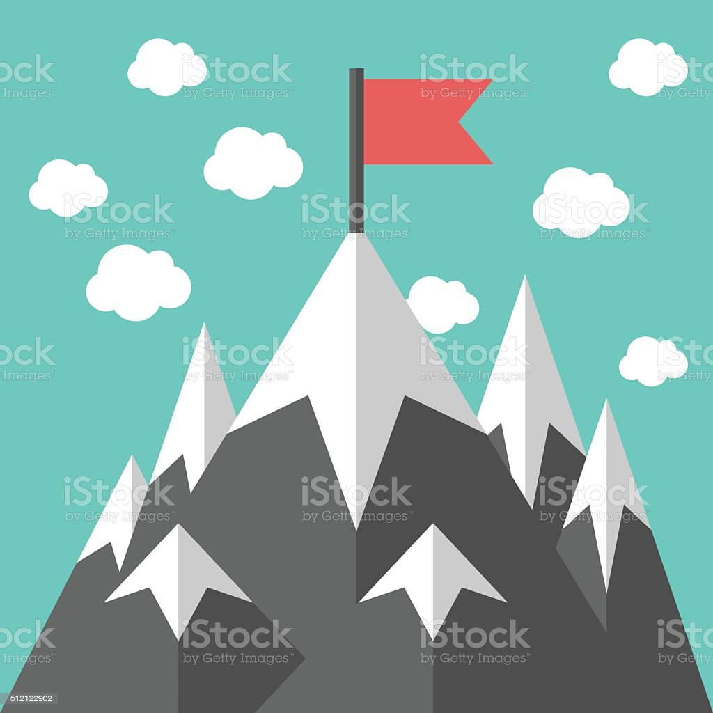 Mountains with red flag vector art illustration