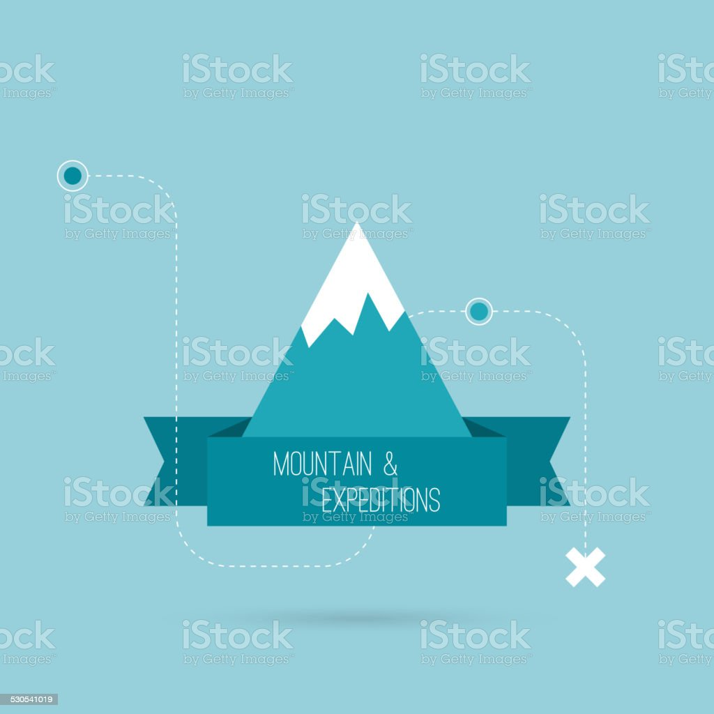 Mountains with ribbon vector art illustration