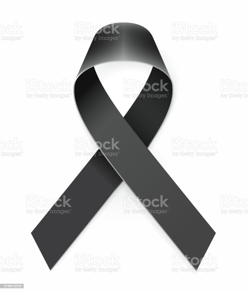 Mourning Black Awareness Ribbon vector art illustration