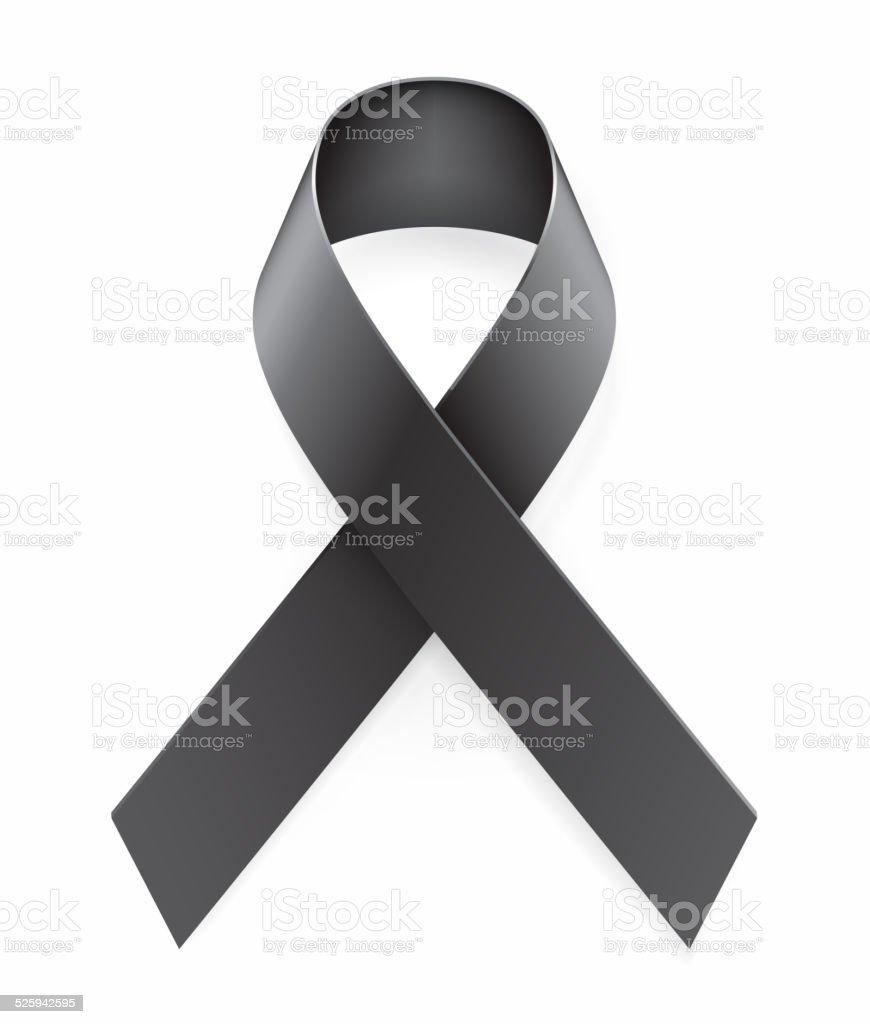 Mourning Black Awareness Ribbon vector art illustration