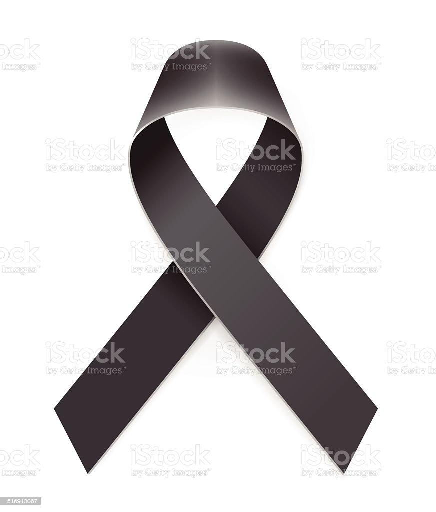 Mourning Black Awarness Ribbon vector art illustration