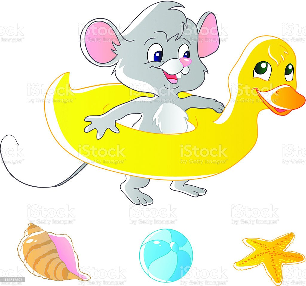 Mouse and air-duck royalty-free stock vector art