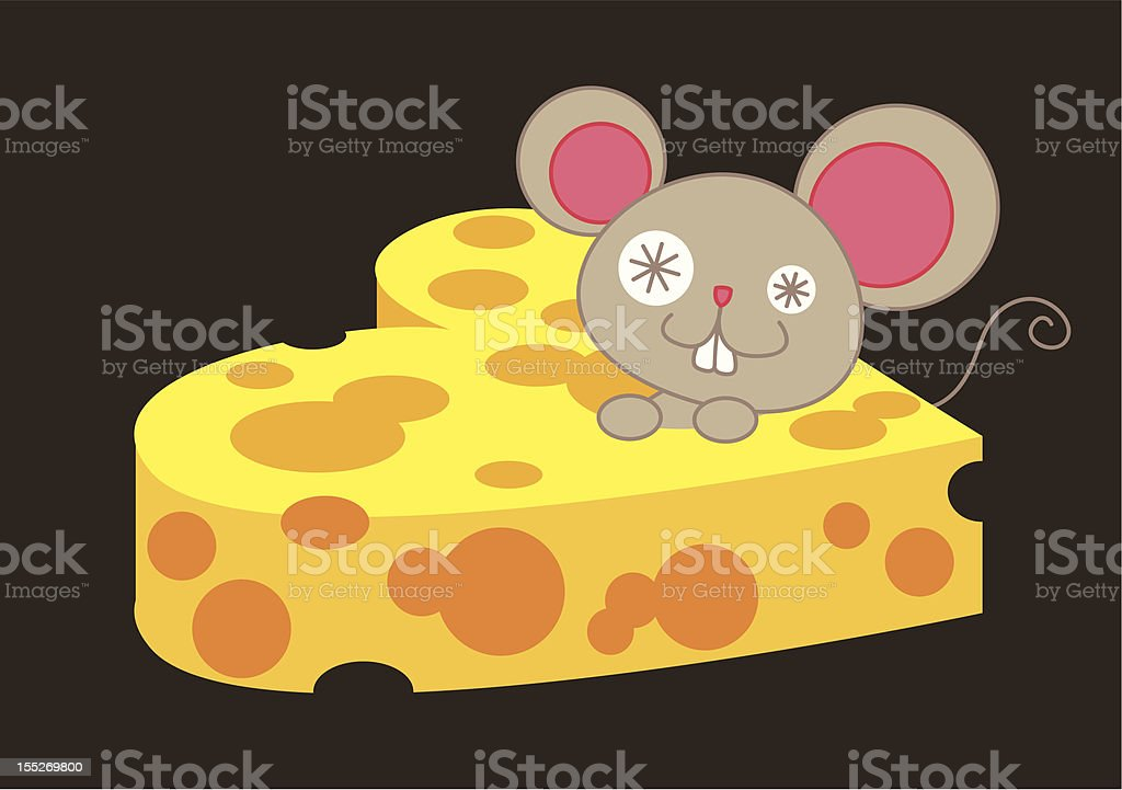 Mouse and heart shape cheese. vector art illustration