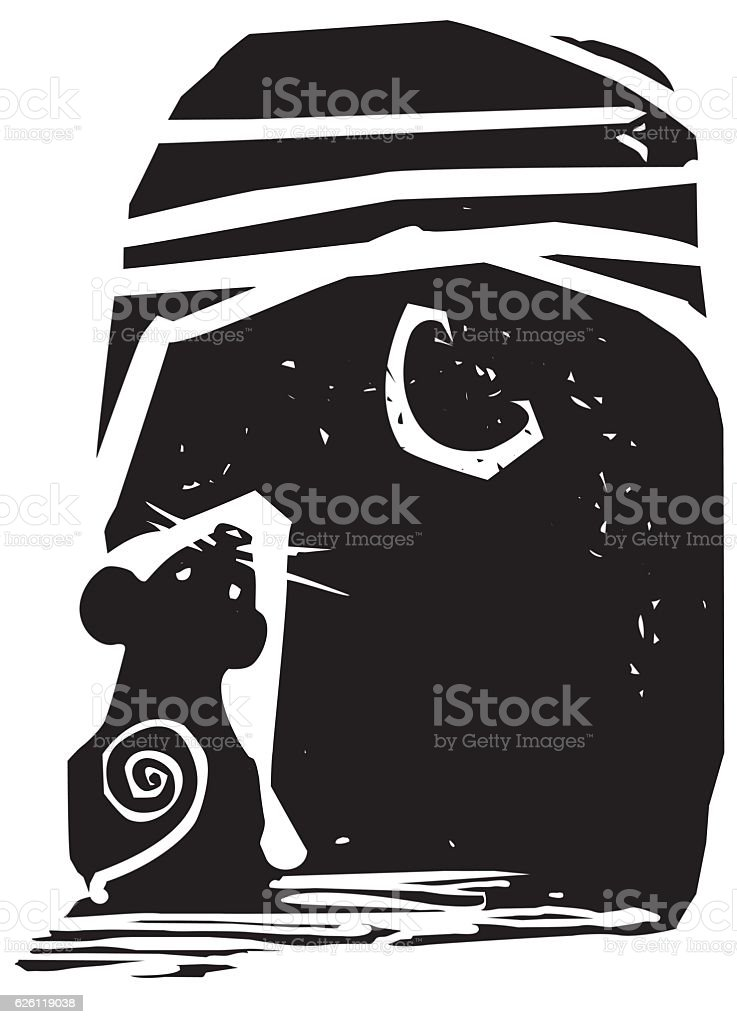 Mouse and Moon vector art illustration