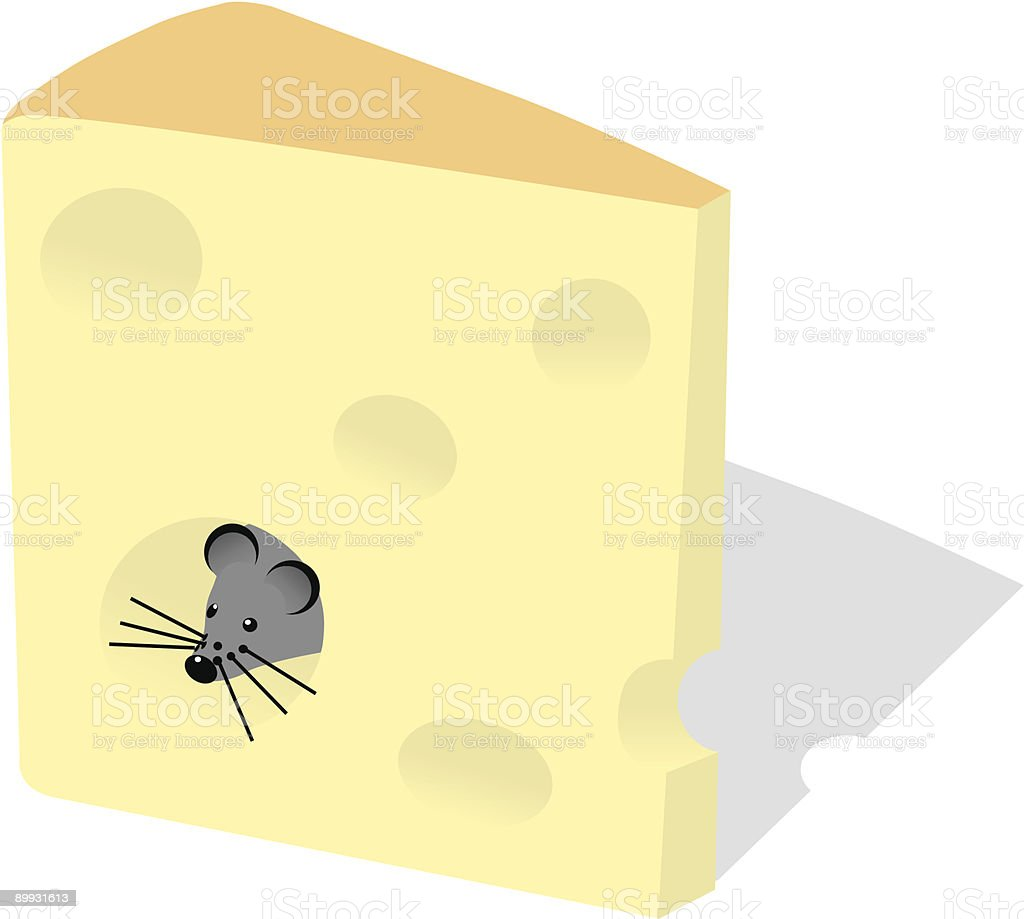 mouse and slice of cheese vector art illustration