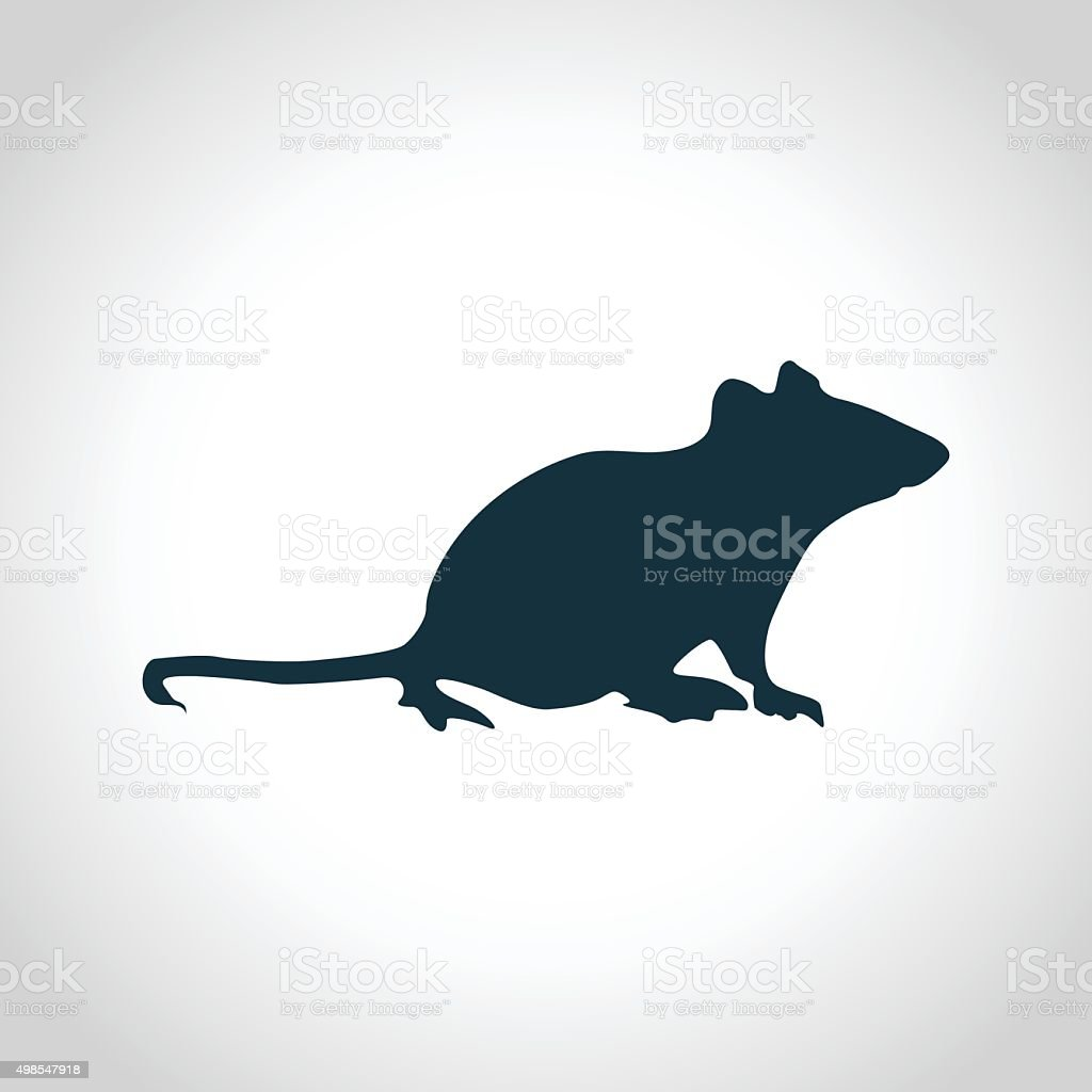 Mouse black silhouette vector art illustration