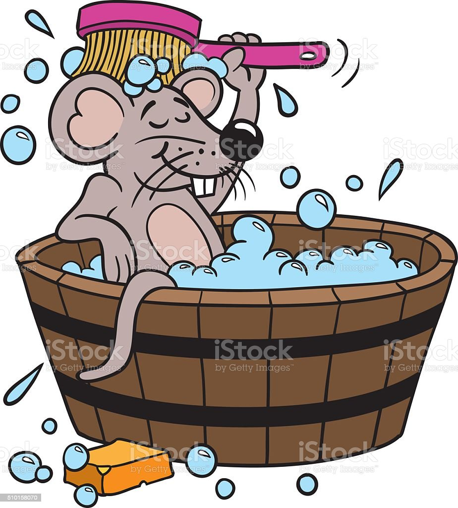 Mouse Clean Bath vector art illustration
