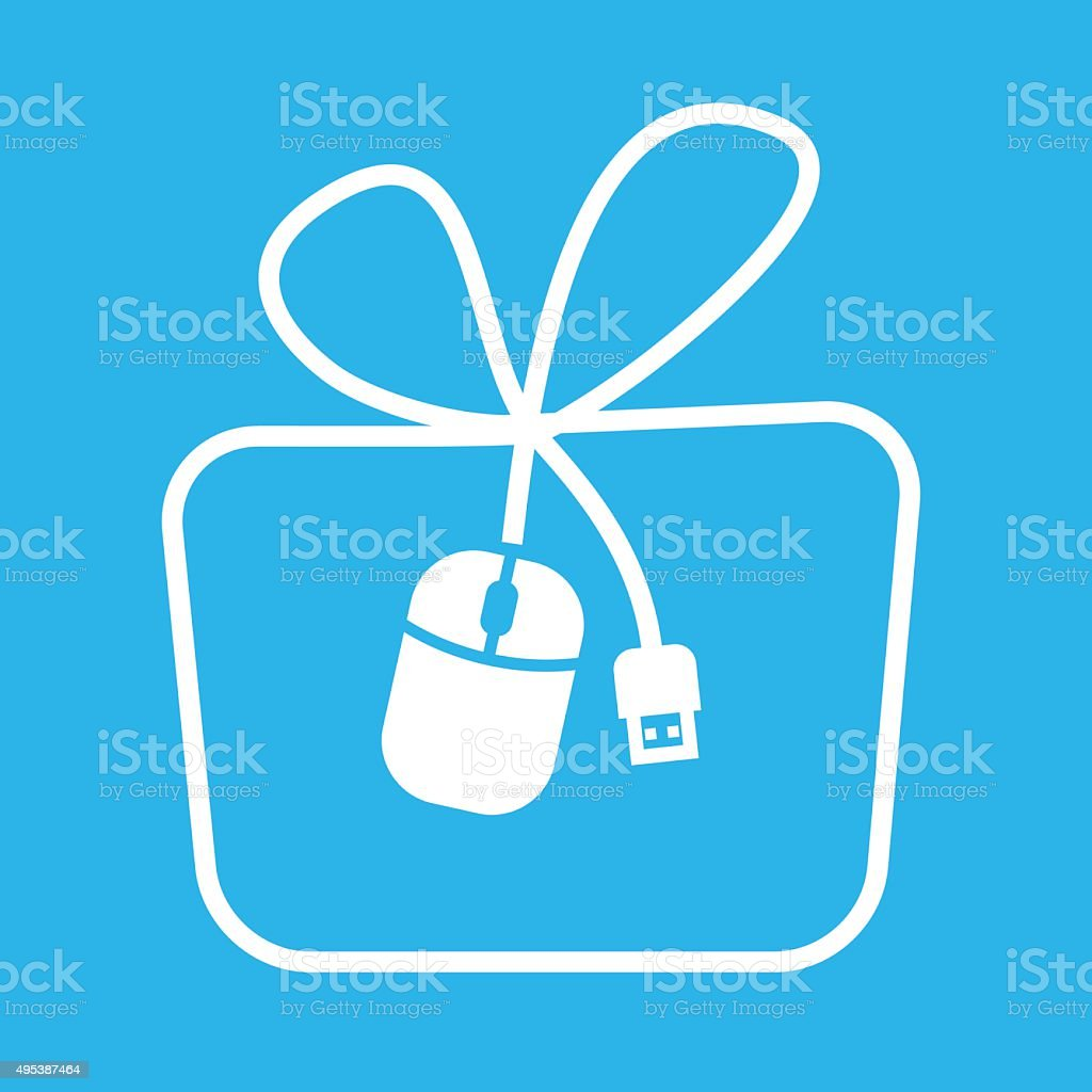 Mouse icon in gift shape royalty-free stock vector art