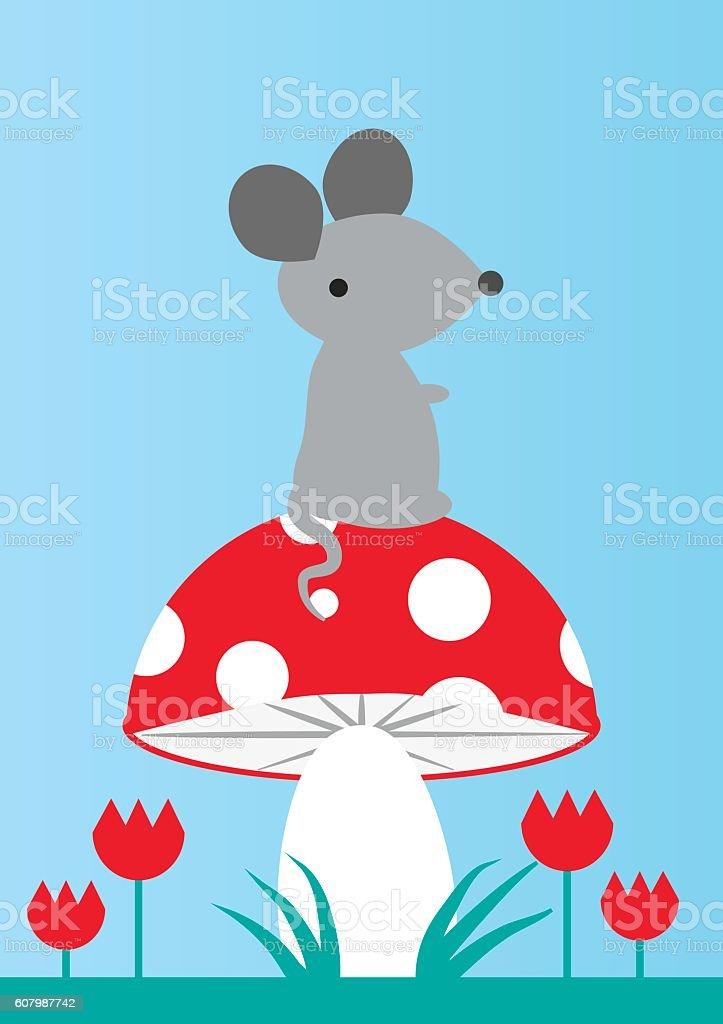 Mouse on a Mushroom vector art illustration