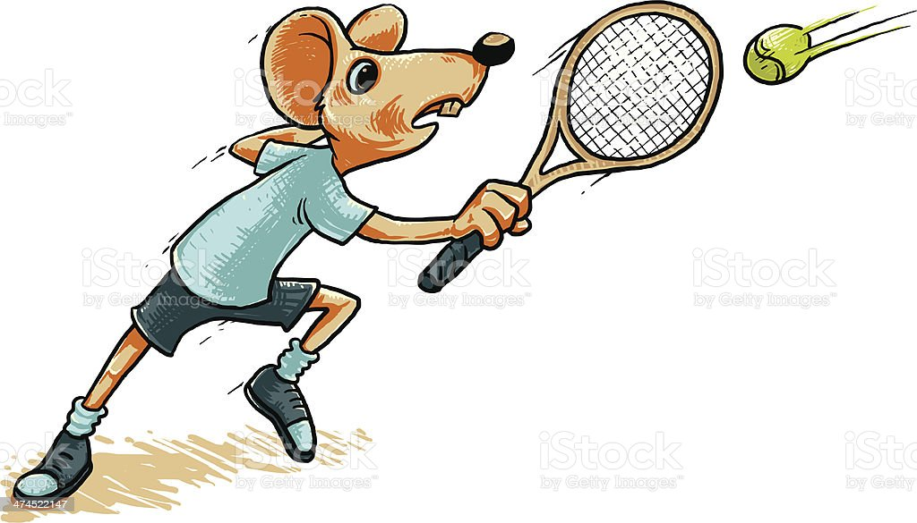 Mouse Playing Tennis royalty-free stock vector art