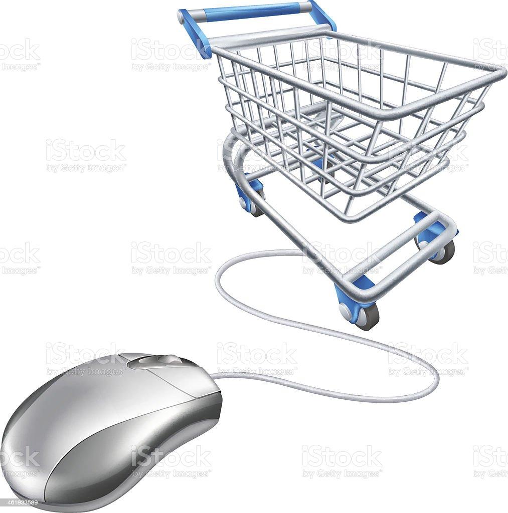 Mouse shopping cart vector art illustration