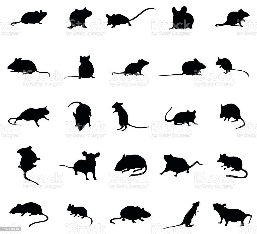 Mouse silhouettes set vector art illustration