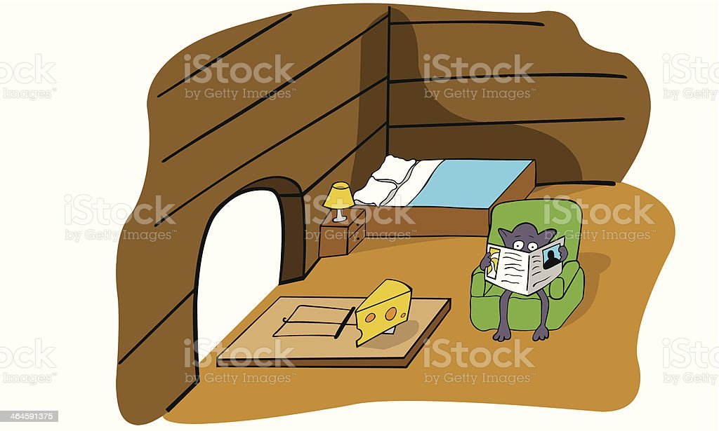 mouse trap vector art illustration