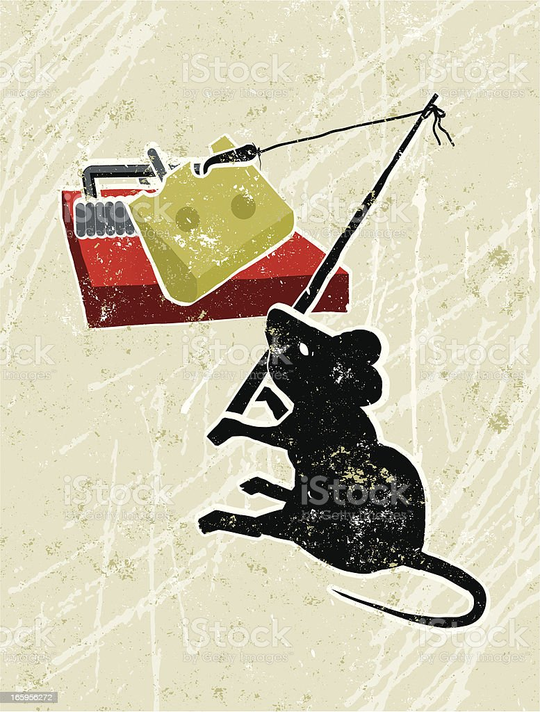 Mouse Using Fishing Rod to Overcome Mousetrap royalty-free stock vector art