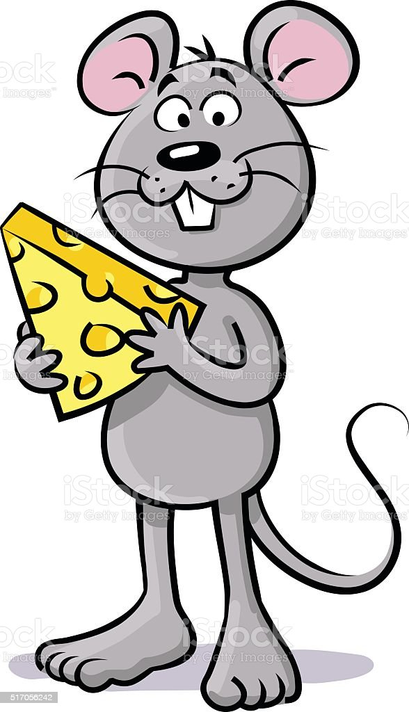 Mouse With Cheese vector art illustration
