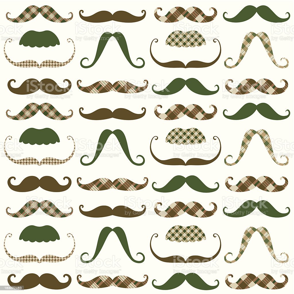 Moustache Retro Pattern royalty-free stock vector art