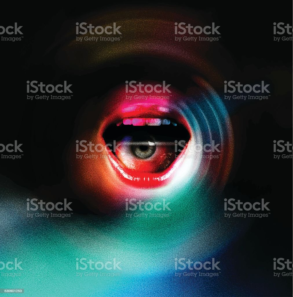Mouth and Eye Background vector art illustration