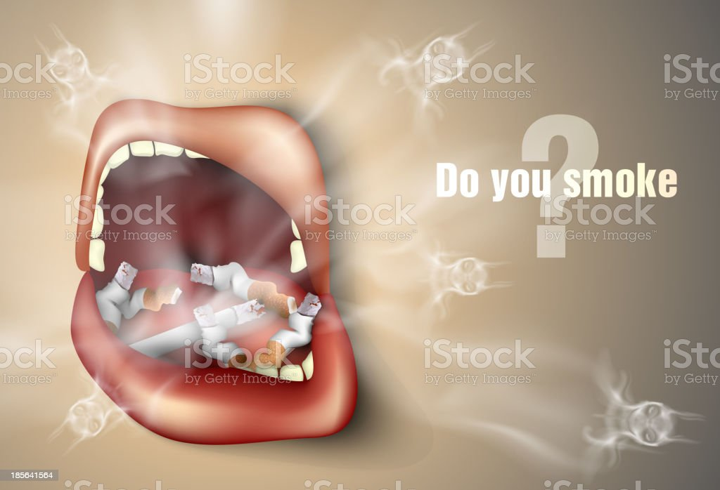 mouth with cigarette royalty-free stock vector art