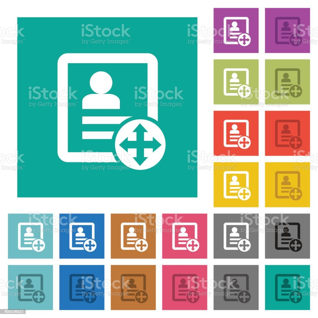 Move contact square flat multi colored icons vector art illustration
