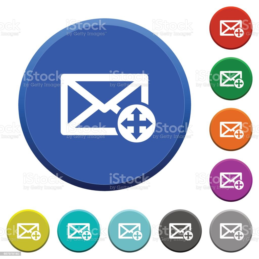 Move mail beveled buttons vector art illustration