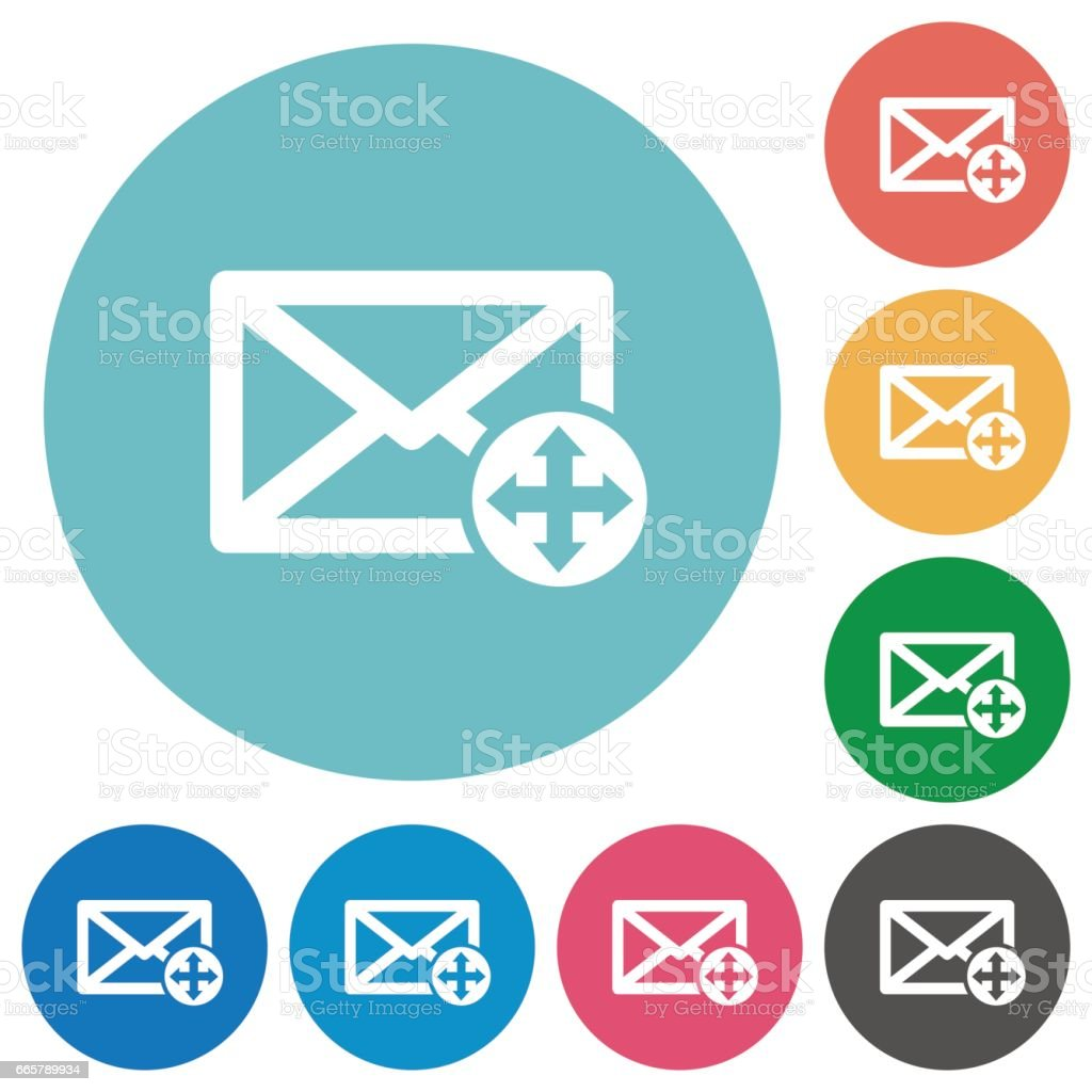 Move mail flat round icons vector art illustration