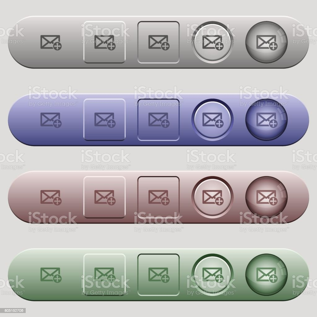 Move mail icons on horizontal menu bars vector art illustration