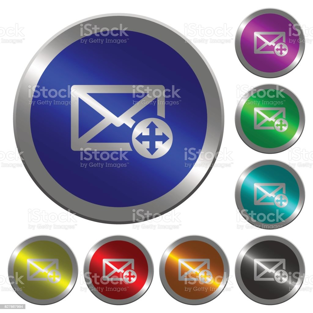 Move mail luminous coin-like round color buttons vector art illustration