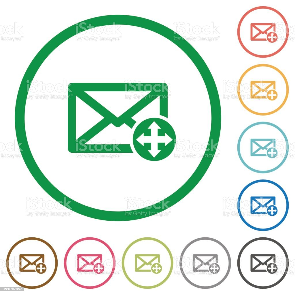 Move mail outlined flat icons vector art illustration