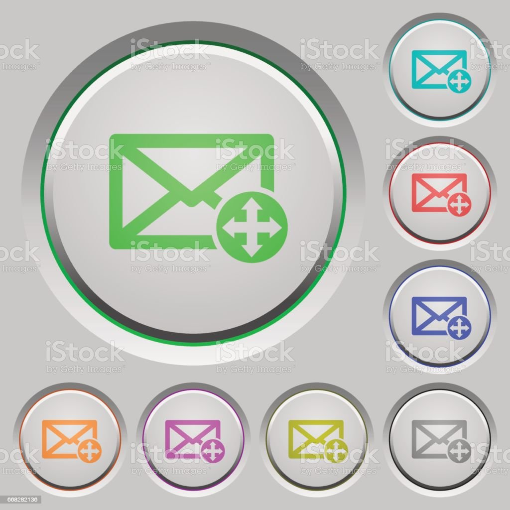Move mail push buttons vector art illustration