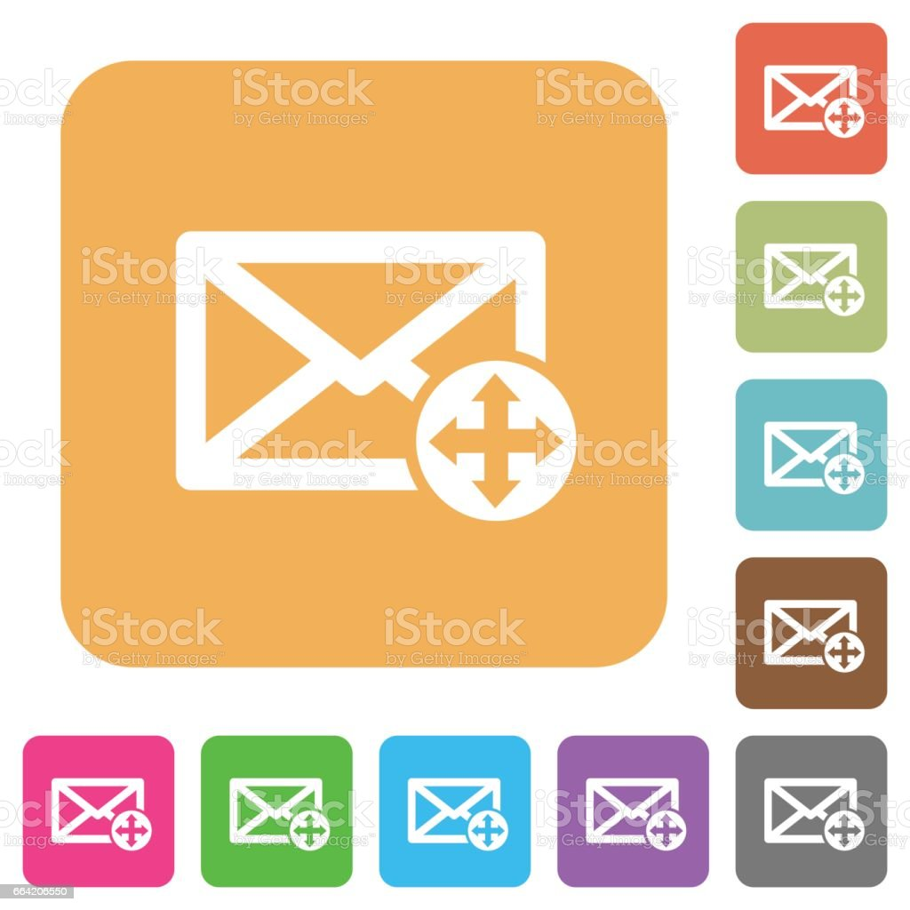 Move mail rounded square flat icons vector art illustration
