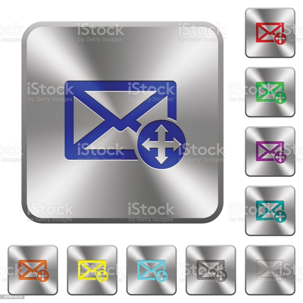 Move mail rounded square steel buttons vector art illustration