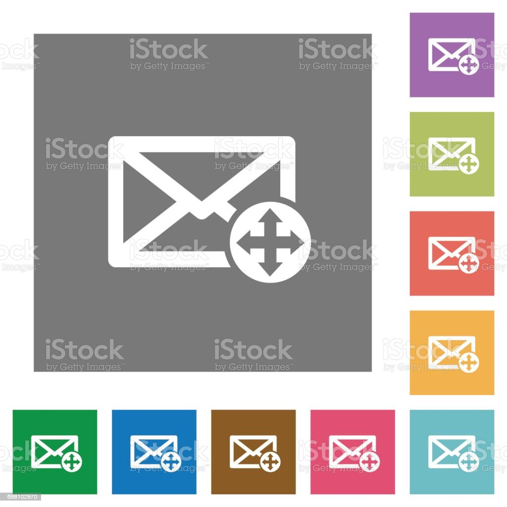 Move mail square flat icons vector art illustration