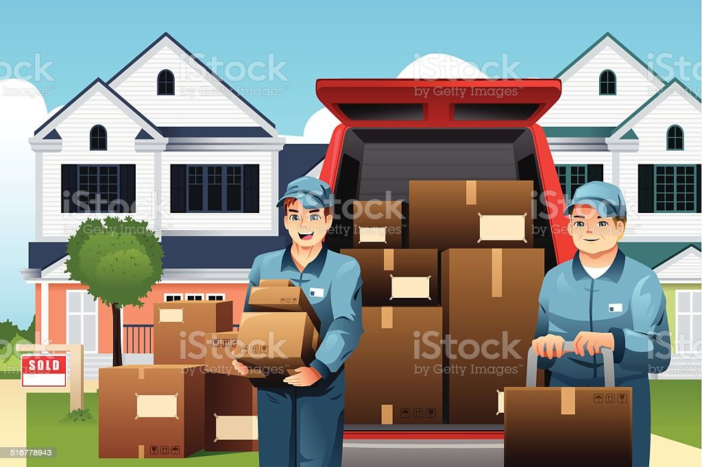Movers carrying boxes vector art illustration