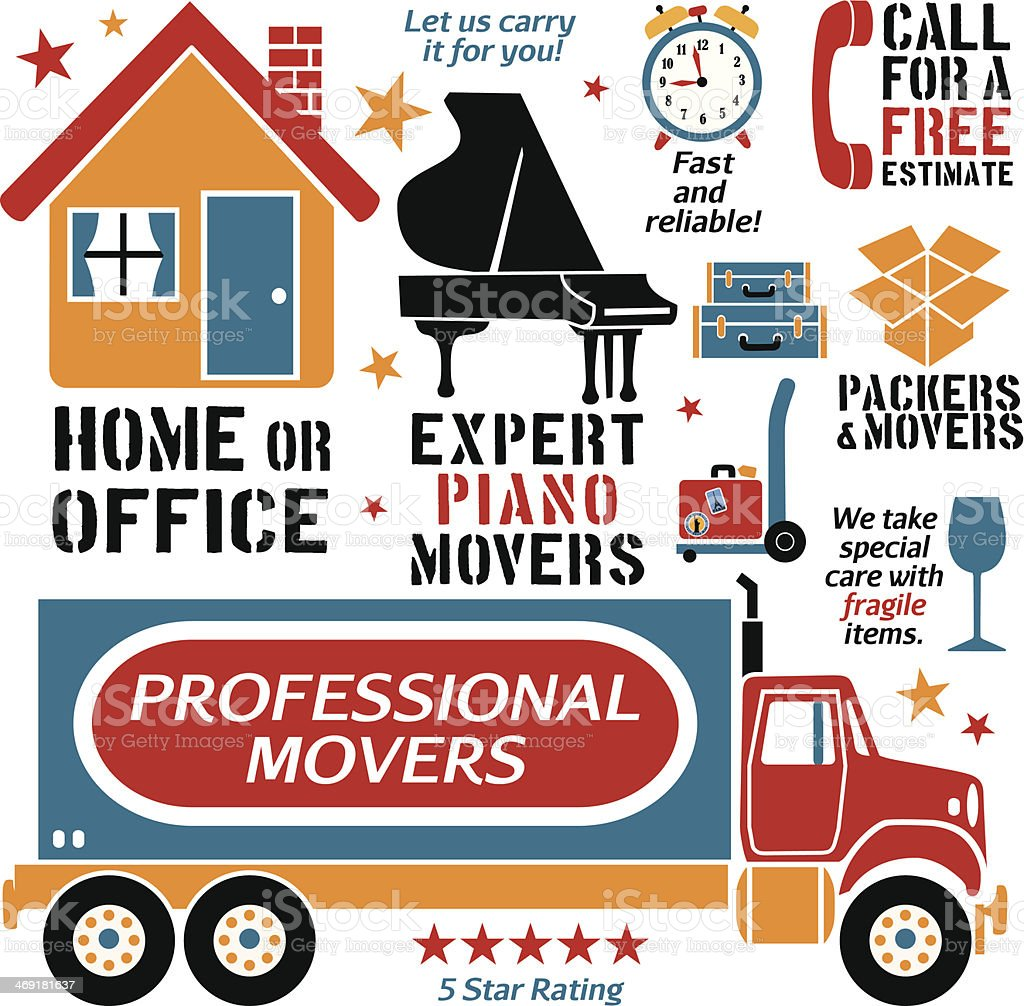 movers design elements vector art illustration