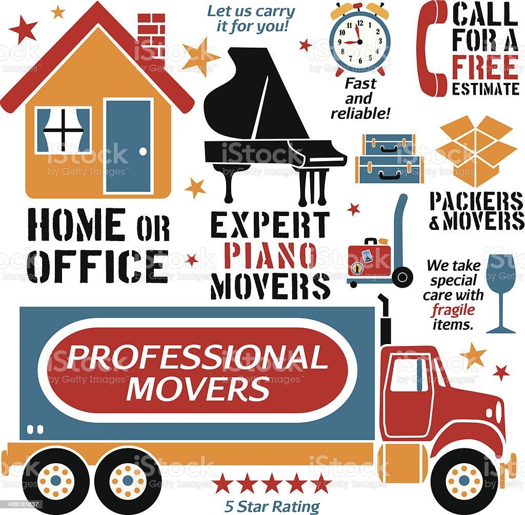 movers design elements vector art illustration
