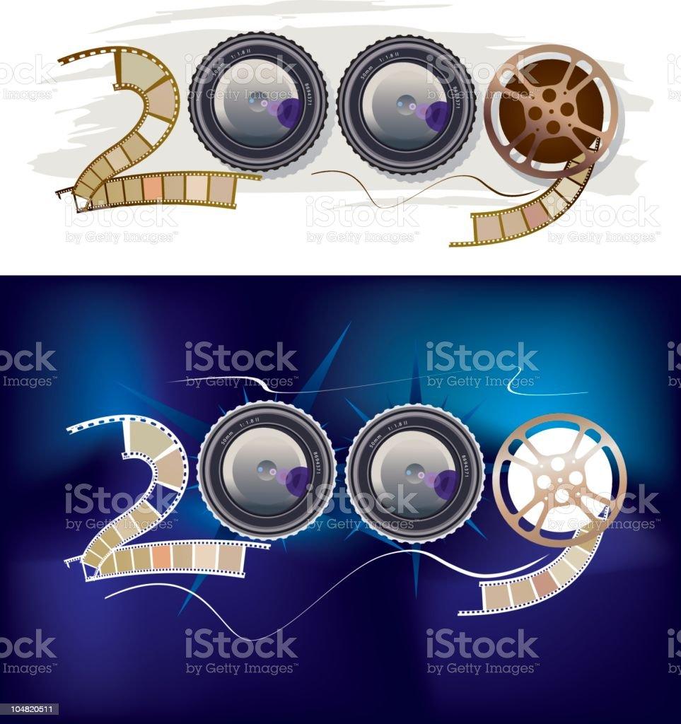 movie 2009 camera lens vector art illustration