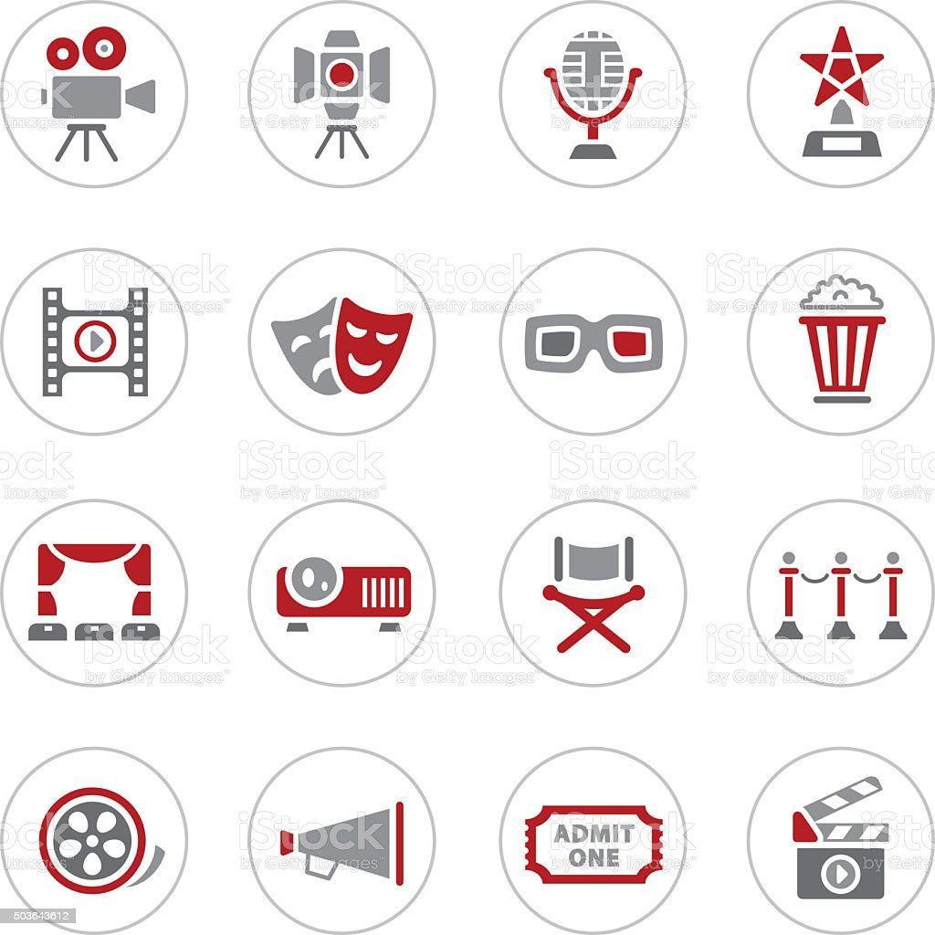 Movie and Cinema Icons vector art illustration