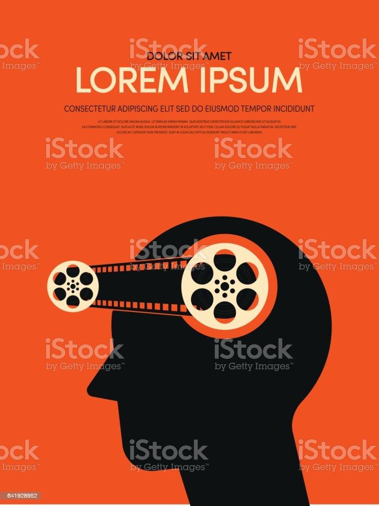 Movie and film modern retro vintage poster background vector art illustration