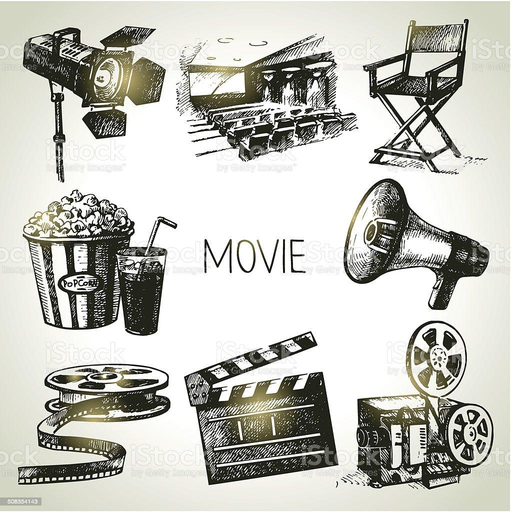 Movie and film set vector art illustration