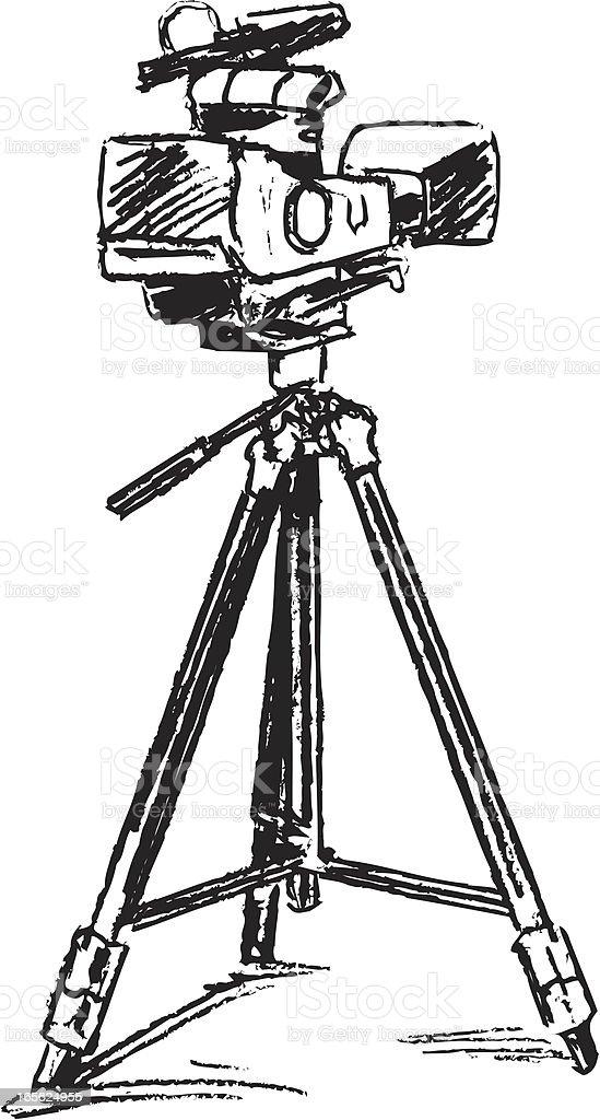 Movie Camera and Tripod vector art illustration