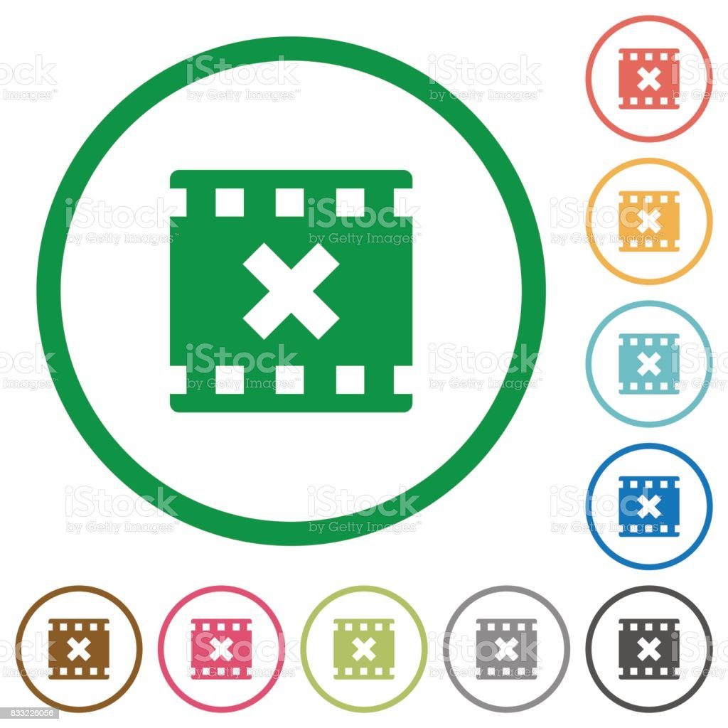 Movie cancel flat icons with outlines vector art illustration