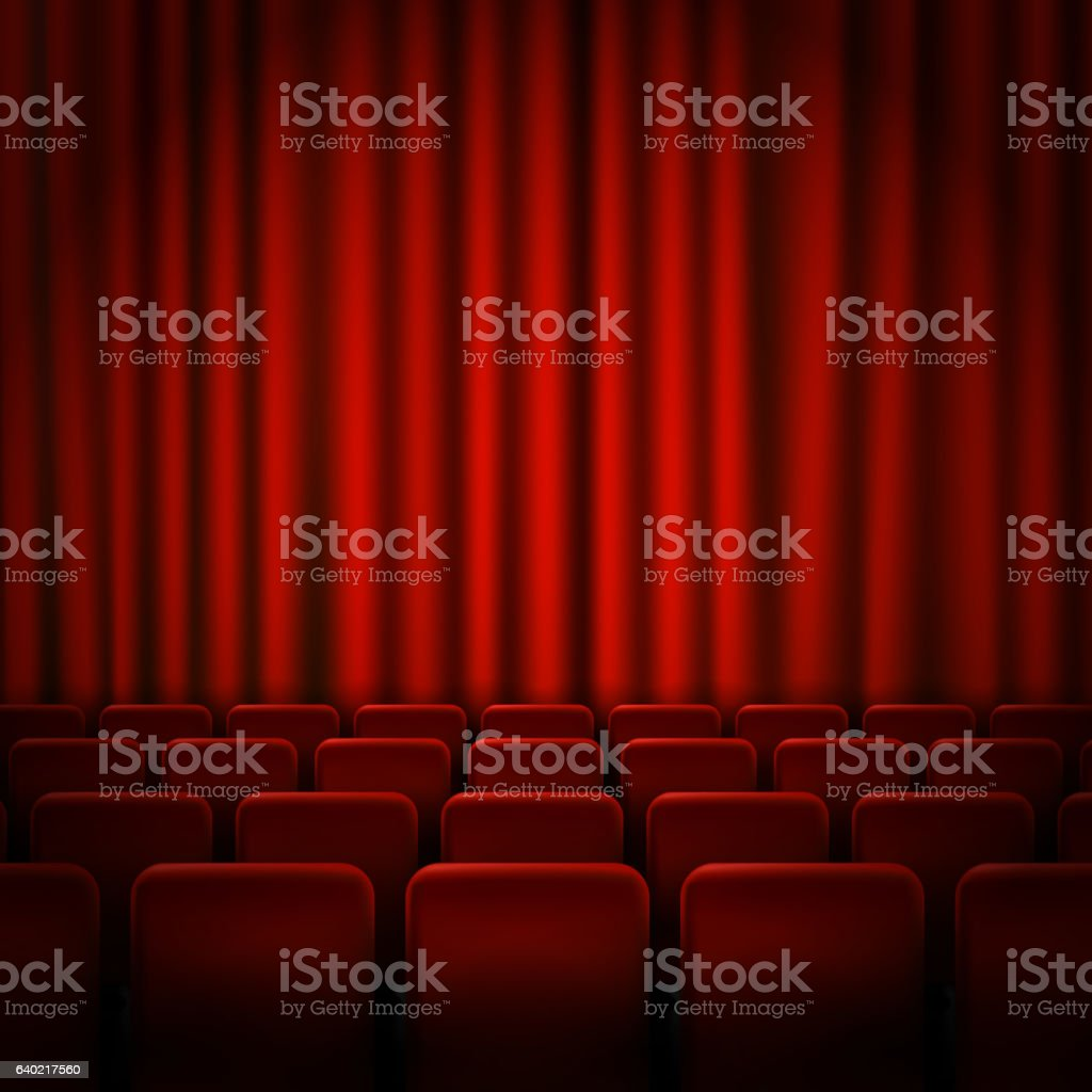 Movie cinema premiere poster design with red curtains. Vector banner. vector art illustration