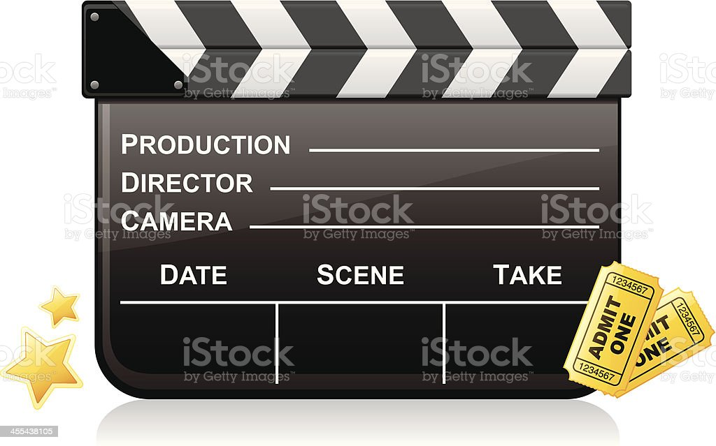 Movie Clapboard and Admission Tickets vector art illustration