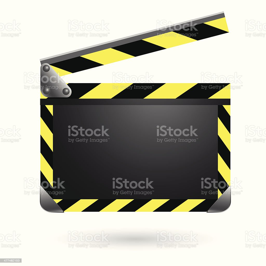 Movie clapper black board and yellow. vector illustration royalty-free stock vector art