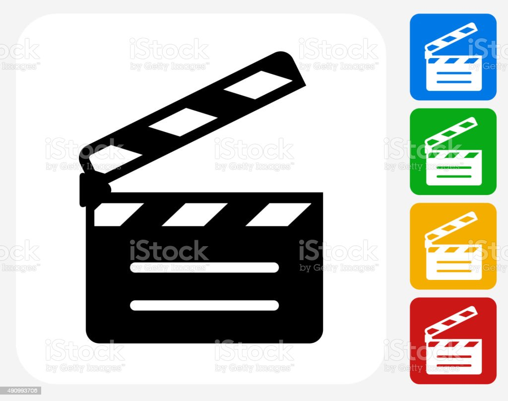 Movie Clapper Icon Flat Graphic Design vector art illustration